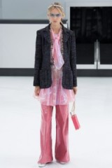 Chanel RTW Spring/Summer 2016 Paris Fashion Week. runway clothing ~ designer trends ~ luxe outfits~ pink trousers ~ shimmering tunics ~ tweed jackets