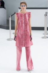 Chanel RTW Spring/Summer 2016 Paris Fashion Week. runway clothing ~ designer trends ~ pink shimmering tunics ~ wide leg trousers ~ ruffles ~ ruffled trim ~ metallic style outfits ~ sheer luxe