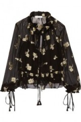 CHLOÉ Embroidered silk-chiffon top black. Designer tops | chic floral blouses | semi sheer boho style