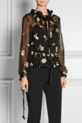 Olivia Palermo style…CHLOÉ Embroidered silk-chiffon top – as worn by Olivia Palermo in a photoshoot for Holt Renfrew, October 2015. Celebrity fashion | star style | designer blouses | what celebrities wear at photoshoots