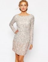 Coast Lydie All Over Sequin Mini Dress in Blush. Party dresses – embellished evening fashion – sequins – going out glamour