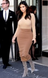 Kim Kardashian style in a neutral colour block outfit of nude, camel and grey. Kim's outfits | celebrity fashion | star style | Kardashian's fashion