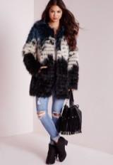 Missguided clour block faux fur coat. Winter coats – warm fluffy jackets – womens outerwear
