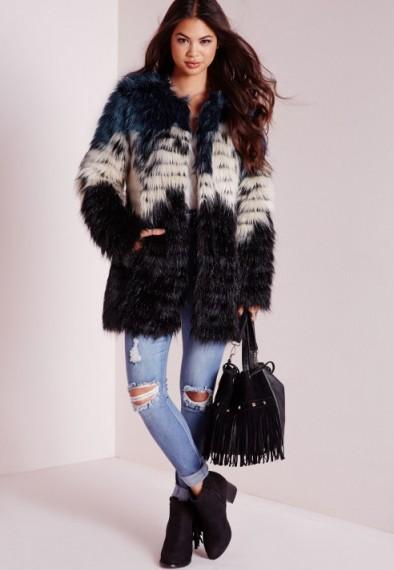 Missguided clour block faux fur coat. Winter coats – warm