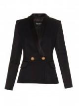 BALMAIN Contrast-lapel double-breasted jacket black ~ designer fashion ~ tailored jackets ~ smart luxury clothing