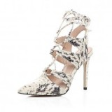 River Island cream snake print lace-up heels – glamorous animal prints – high heels – evening glamour – lace up front shoes – ankle ties