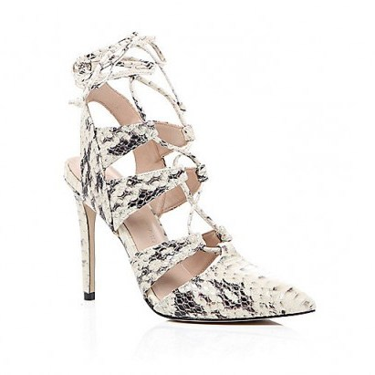 River Island cream snake print lace-up heels – glamorous animal prints – high heels – evening glamour – lace up front shoes – ankle ties - flipped