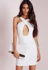 Missguided cross front mini dress white. Party dresses – night club fashion – evening wear – going out glamour