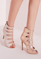 Missguided cut out detail heeled sandals rose gold – party shoes – evening high heels – going out glamour – glamorous accessories