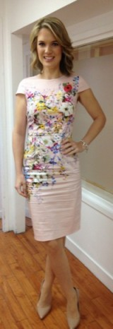 Charlotte Hawkins looking mighty pretty in this floral dress from Oasis!