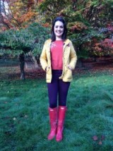 Laura Tobin in a Joules Clothing yellow jacket, La Redoute pink sweater, UNIQLO purple trousers and pink Hunter Boots #colourful #splashofcolour