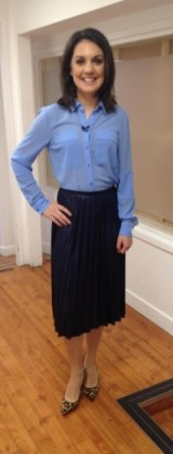 Laura Tobin looking smart in a Marks and Spencer Limited Collection shirt and La Redoute skirt