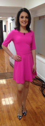 Laura Tobin looking swish in this bright pink dress from New Look and decadent floral shoes from Dorothy Perkins!
