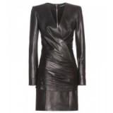 BALMAIN Ruched leather mini dress black ~ designer dresses ~ luxury fashion
