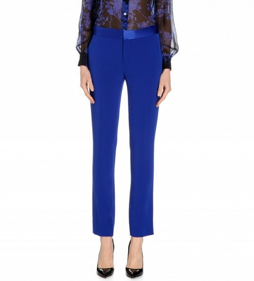 DIANE VON FURSTENBERG Genesis stretch-crepe trousers cobalt blue – as worn by Nicole Scherzinger leaving the Today Show in New York City, 20 October 2015. Celebrity fashion | designer suit trousers | what celebrities wear | star style. - flipped