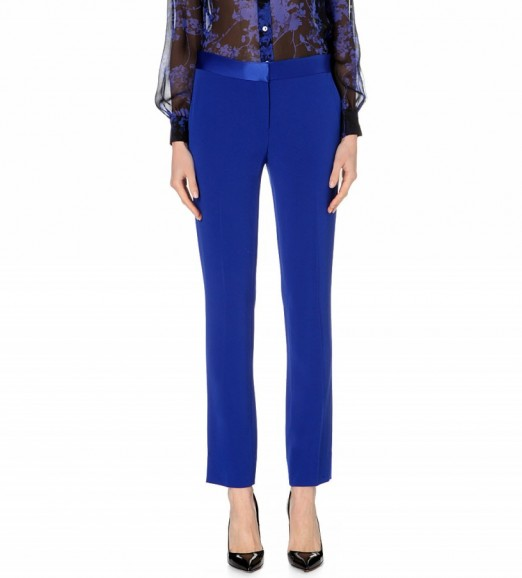 DIANE VON FURSTENBERG Genesis stretch-crepe trousers cobalt blue – as worn by Nicole Scherzinger leaving the Today Show in New York City, 20 October 2015. Celebrity fashion | designer suit trousers | what celebrities wear | star style.