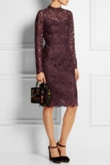 DOLCE & GABBANA Guipure lace dress purple – as worn by the Duchess of Cambridge on a visit to Lancaster House, London, 21 October 2015. Celebrity fashion | Kate Middleton style | designer dresses | what celebrities wear