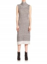 Rag & Bone Makenna Turtleneck Dress in light grey – as worn by Tamara Ecclestone out in London, 11 October 2015. Celebrity fashion   designer knitwear   knitted midi dresses   what celebrities wear