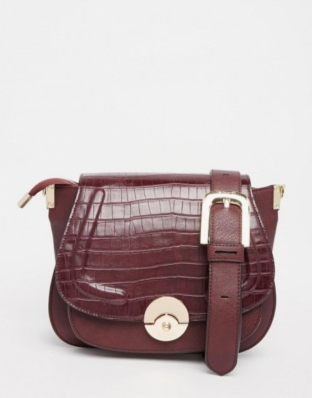 Luxe style accessories…Dune Delphine Croc Effect Winged Saddle Bag in Berry. Luxury looks ~ faux leather handbags ~ shoulder bags - flipped