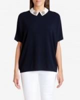 TED BAKER – ULSEY Embellished cashmere jumper blue ~ smart weekend jumpers ~ chic sweaters ~ smart tops
