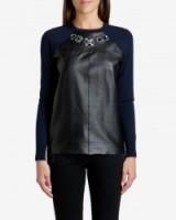 TED BAKER – LANDRA Embellished leather jumper ~ weekend tops ~ smart jumpers ~ jewelled sweaters