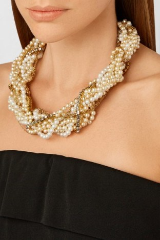 ERICKSON BEAMON Lady and the Tramp gold-plated, faux pearl and Swarovski crystal necklace ~ jewellery ~ pearls ~ crystals ~ necklaces ~ statement - flipped
