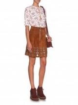 SONIA RYKIEL Eyelet-embellished suede skirt ~ tan skirts ~ eyelets ~ stylish ~ 70s style