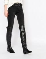 Faith Nash Black Leather Heeled Over The Knee Boots black. Winter footwear – low block heel – womens fashion