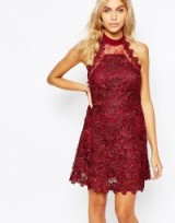 Fashion Union Lace Skater Dress with Mesh Back red. Party dresses – going out fashion – evening wear