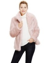 M&S COLLECTION New Faux Fur Glossy Overcoat pale pink. Warm winter jackets – womens fluffy coats – Marks & Spencer clothing