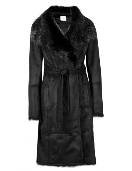 M&S COLLECTION New Faux Shearling Trim Belted Overcoat ...