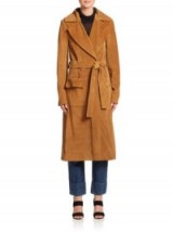 FRAME DENIM Le Suede Duster Coat Camel – as worn by Gigi Hadid out in Paris, October 2015. Celebrity fashion | star style | belted coats | what celebrities wear