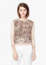 MANGO flowy panel sweater beige. Animal prints – womens tops – printed sweaters – jumpers