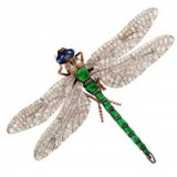 Victorian diamond & emerald dragonfly brooch. Insect brooches – antique jewellery
