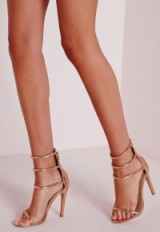 Missguided four strap barely there sandals rose gold – strappy high heels – party shoes