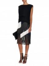 CÉDRIC CHARLIER Fringed panels mini skirt ~ designer skirts ~ stylish ~ fringe style fashion ~ chic