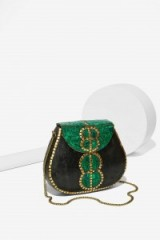 From St Xavier Tully Resin Clutch black & green. Evening bags – party accessories – occasion handbags