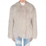 Stella McCartney Fur Free Fur Short Thelma Coat silver moon. Womens designer jackets – warm winter coats – luxury fashion – fluffy outerwear