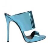 GIUSEPPE ZANOTTI Coline Metallic Mules – metallic sandals – blue metallics