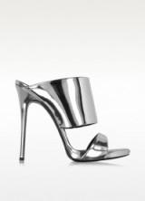 GIUSEPPE ZANOTTI Silver Metallic Leather Sandal – metallic sandals – high heels