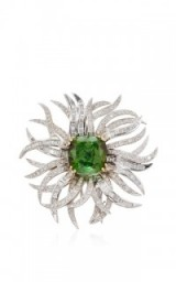 FRUZSINA KEEHN Green Tourmaline Diamond Brooch