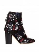ISABEL MARANT Guya embroidered suede ankle boots. Designer footwear – luxury high heeled boots – block heel
