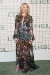 Kate Hudson looked stunning a floral Yanina Couture gown and satin platform sandals at La Mer event in Los Angeles, 13 October 2015. Celebrity fashion | star style | what celebrities wear | sheer designer gowns | celebrities at events