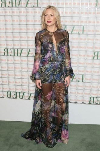 Kate Hudson looked stunning a floral Yanina Couture gown and satin platform sandals at La Mer event in Los Angeles, 13 October 2015. Celebrity fashion   star style   what celebrities wear   sheer designer gowns   celebrities at events - flipped
