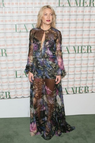 Kate Hudson looked stunning a floral Yanina Couture gown and satin platform sandals at La Mer event in Los Angeles, 13 October 2015. Celebrity fashion   star style   what celebrities wear   sheer designer gowns   celebrities at events