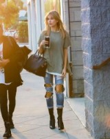 Hailey Baldwin street style in totally ripped jeans. Models off duty | celebrity fashion | celebrities in distressed denim