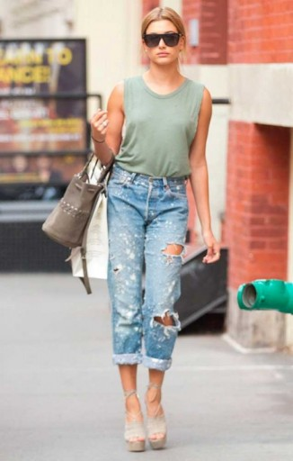 Hailey Baldwin street style… light green tank, distressed jeans and strappy platforms. Models off duty | casual celebrity fashion | celebrities wearing ripped denim