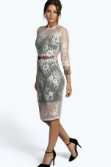 boohoo Haley Boutique Sheer Panel Lace Midi Dress ivory. Evening glamour ~ floral party dresses ~ going out fashion