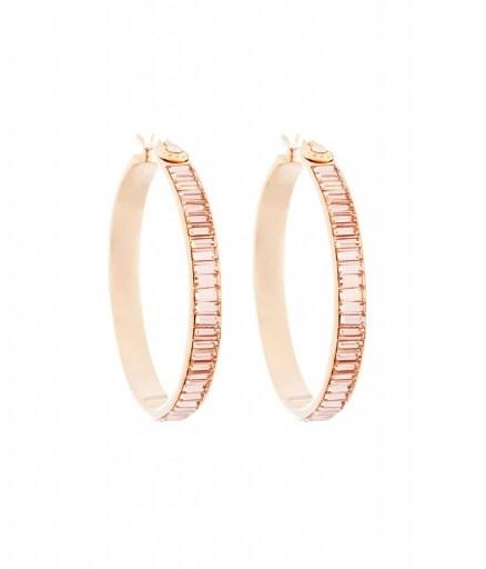 HENRI BENDEL – HARRY HOOP MEDIUM EARRINGS PINK. crystal statement earrings – luxe style jewellery - flipped