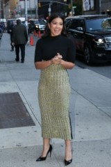 Gina Rodriguez looked chic wearing a black short sleeve turtleneck top, high waisted Steven Khalil embellished midi skirt and black pumps, at The Late Show with Stephen Colbert in New York, 7 October 2015. Celebrity fashion   star style   designer pencil skirts   what celebrities wear